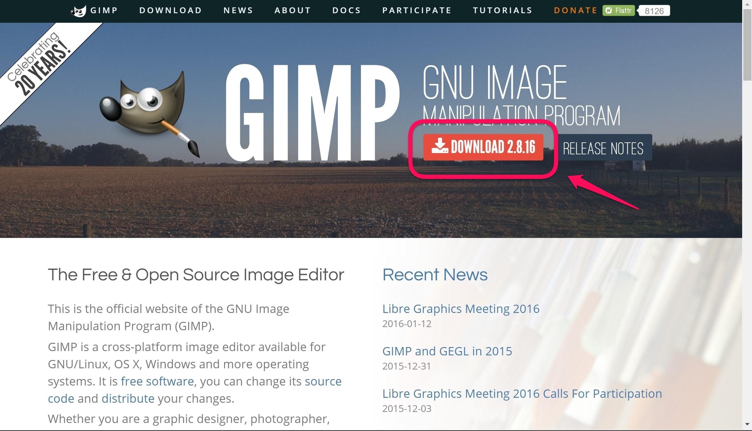 GIMPダウンロード