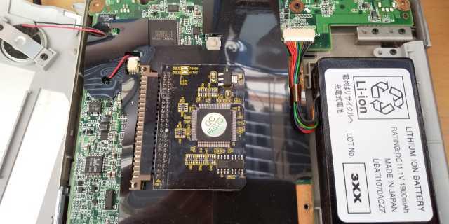 フチマサにIDE=>microSD変換アダプタを取り付けたところ