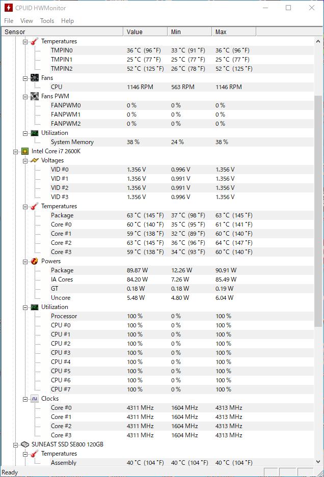 Core i7-2600Kを4.3GHzで動かしているとき