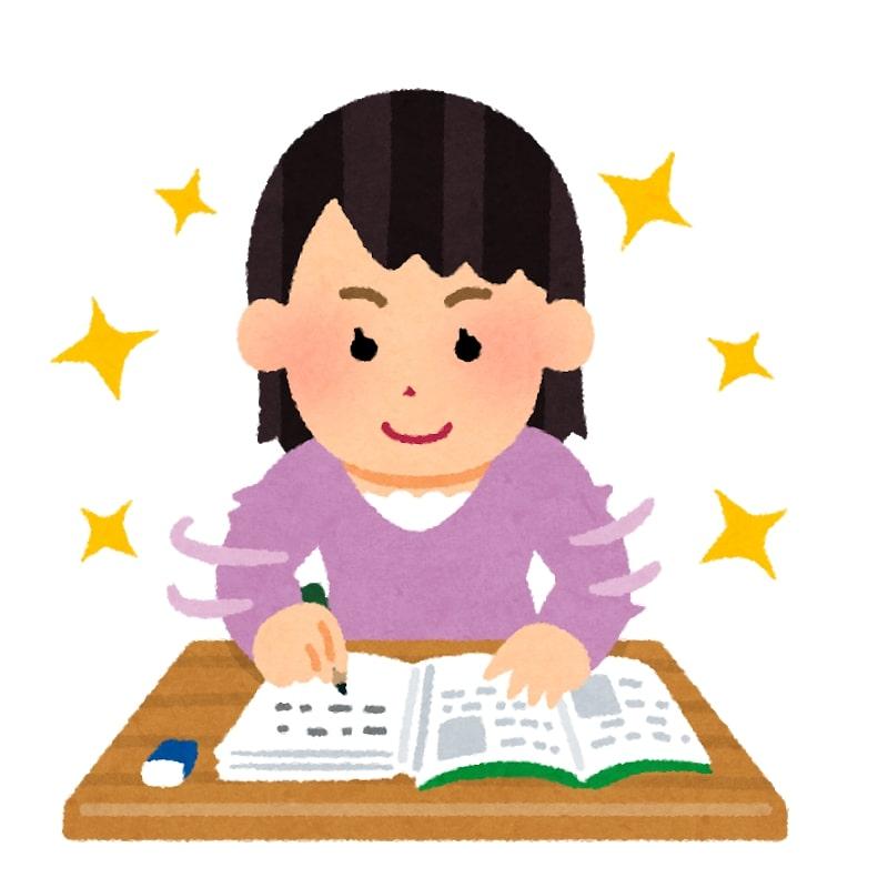 順調に勉強する女性