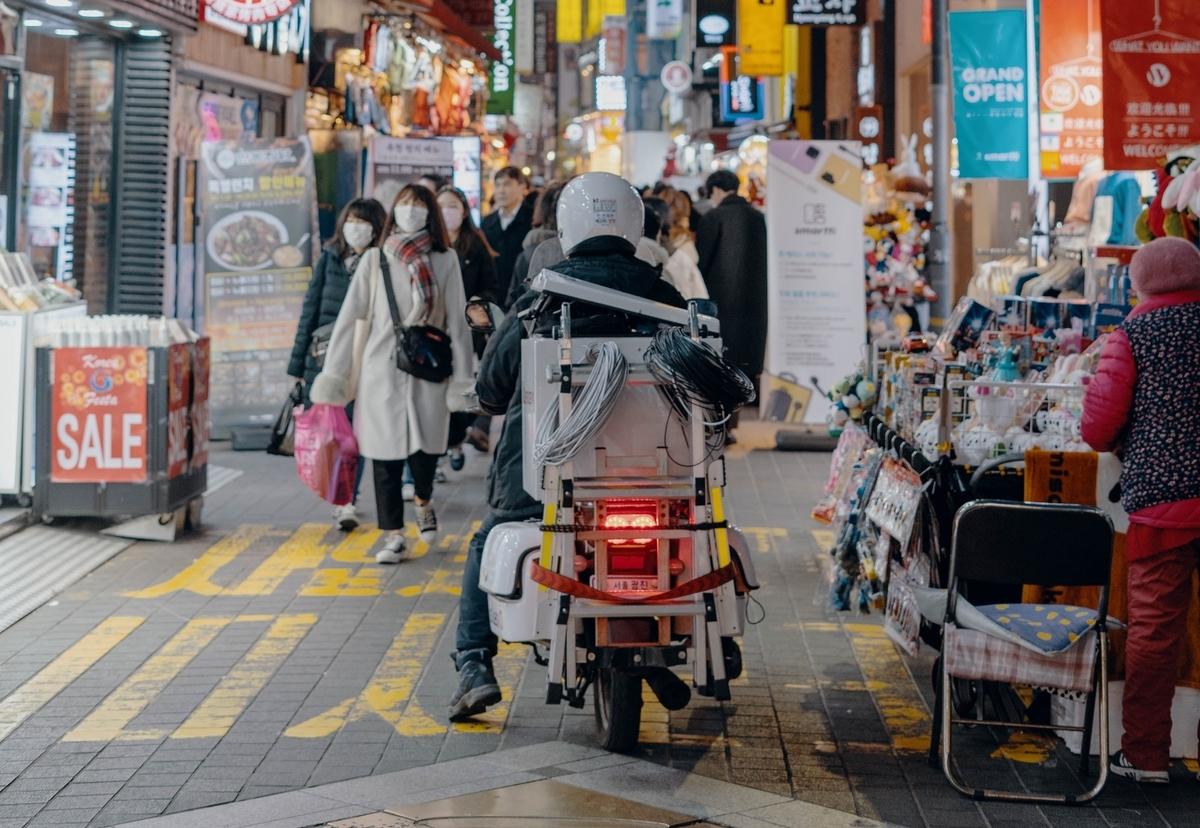 街中のバイク