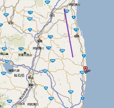 福島第一原子力発電所と双葉断層...