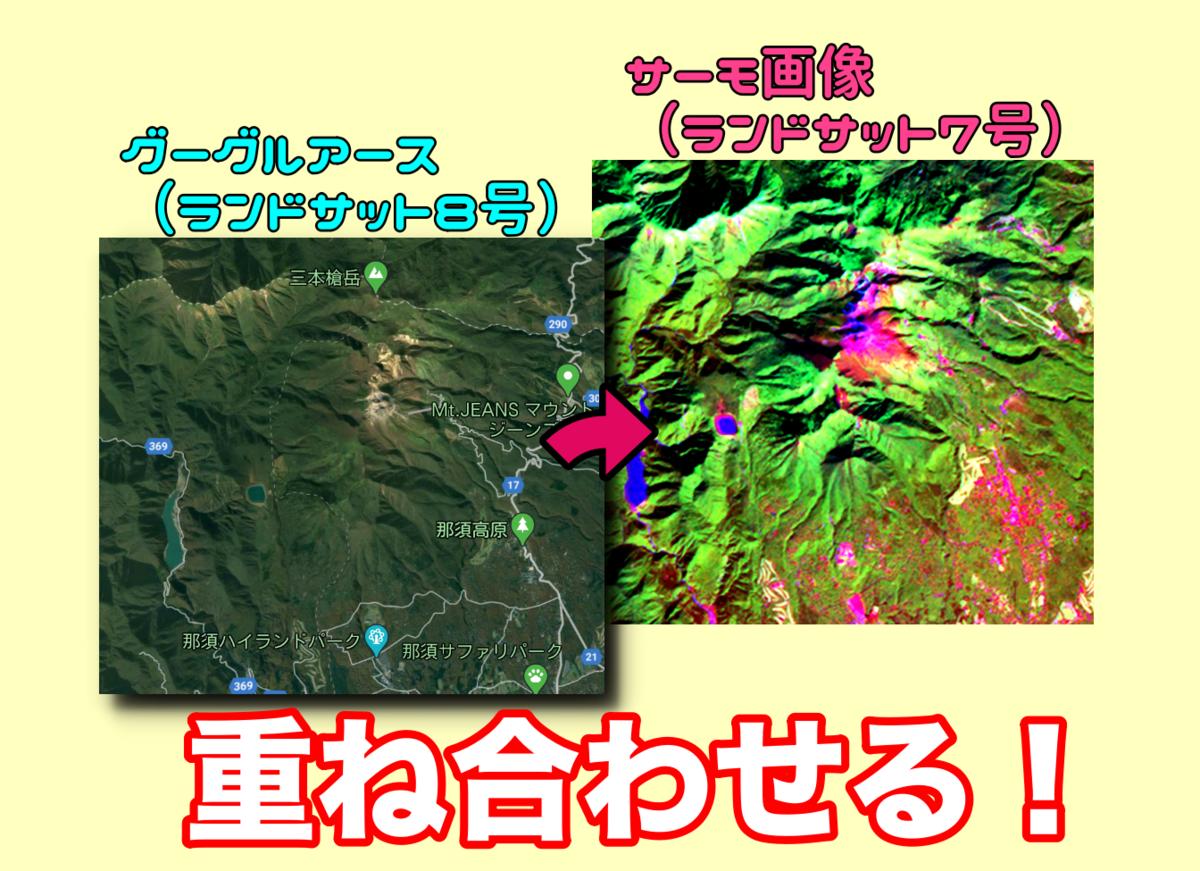 ランドサット サーモ画像 7号 8号 衛星画像 那須