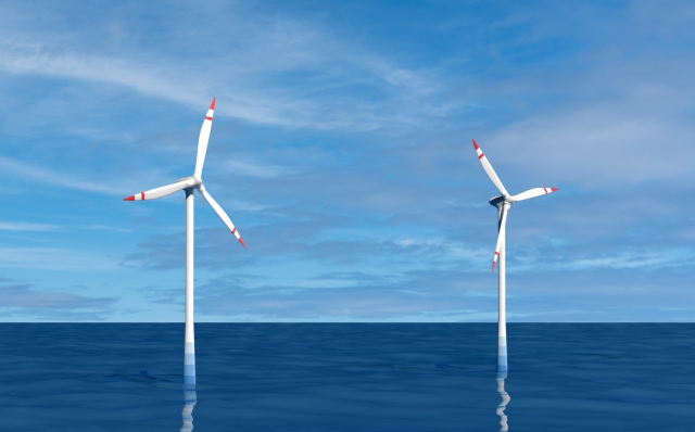 洋上風力発電の写真