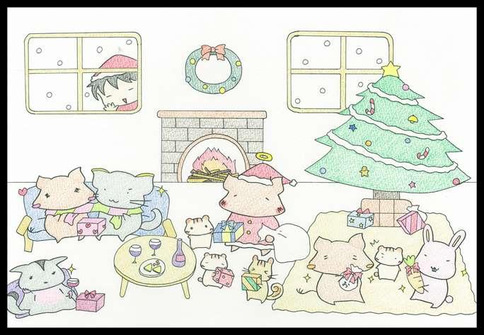 小動物のクリスマスイラスト