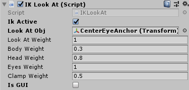 IKLookAtの設定のスクリーンショット