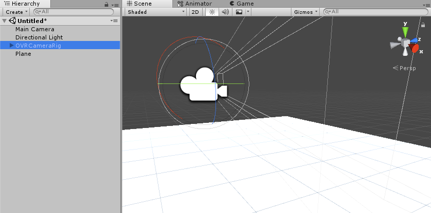 OVRCameraRigを追加した様子のスクリーンショット