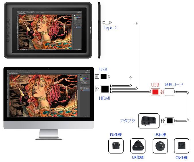 XP-Pen Artist15.6 接続図