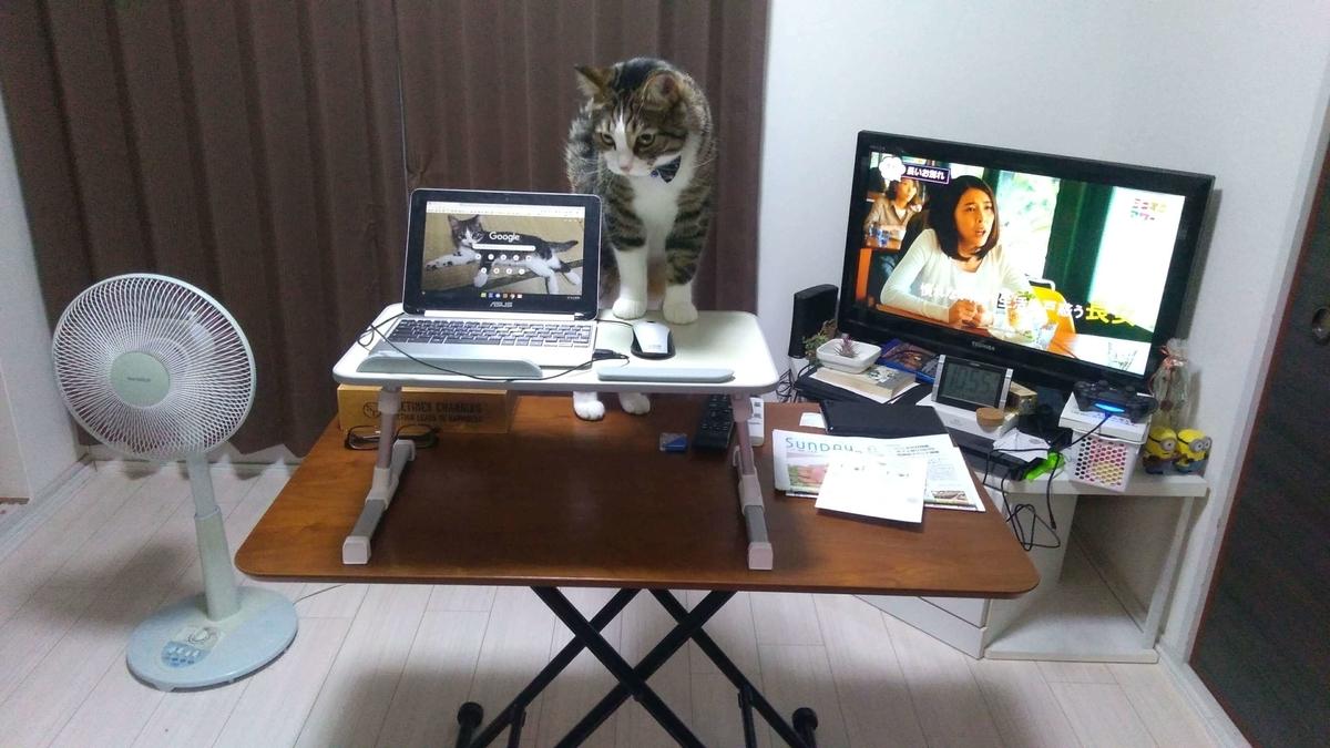 机上台をリビングのテーブルの上に置いてみた