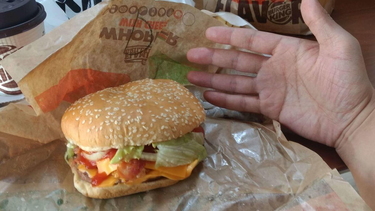 デラックスチキンワッパーの大きさを手のひらと比較