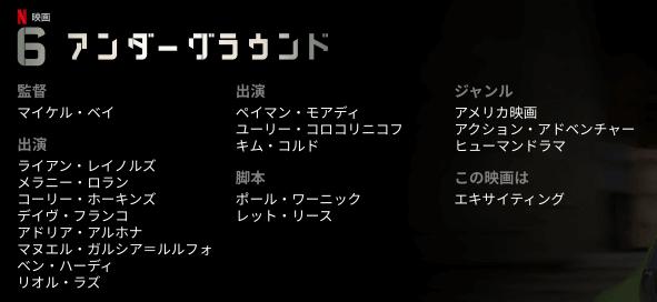 ネットフリックス映画「6アンダーグラウンド」出演キャスト・制作陣