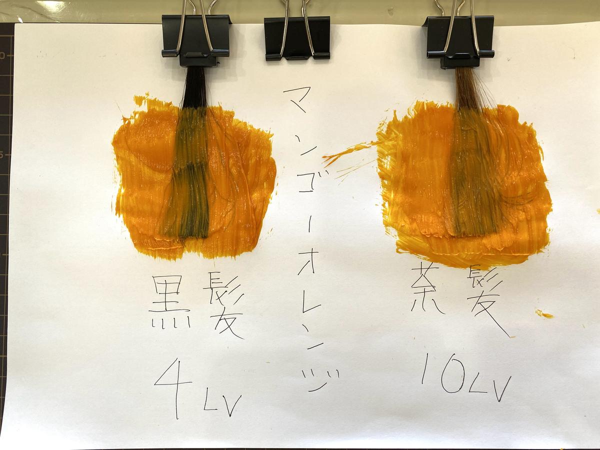 エンシェールズカラーバターのマンゴーオレンジで黒髪と茶髪に染めていきます。