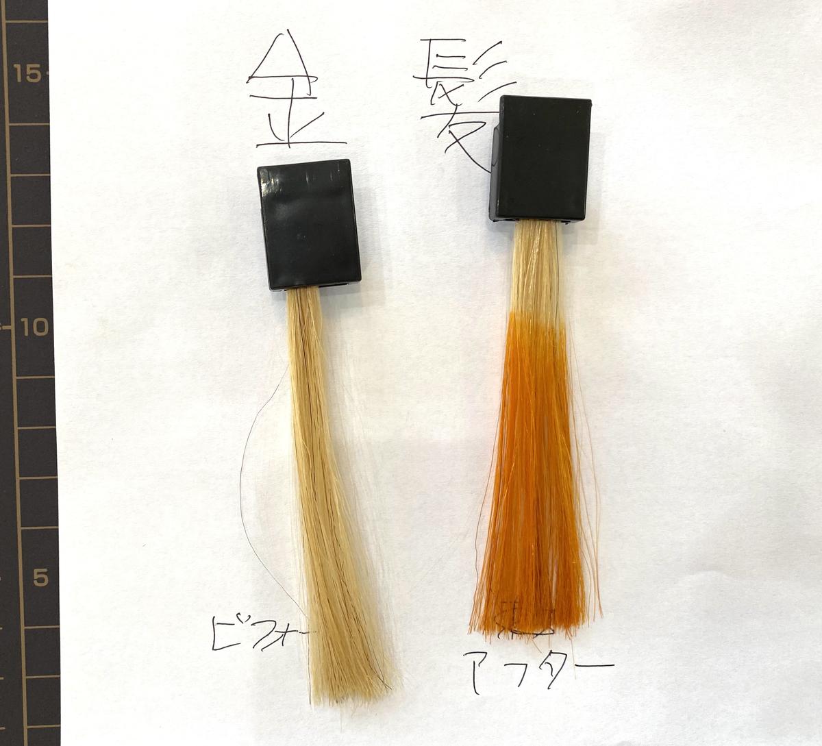 画黒左が金髪で画面右が金髪にマンゴーオレンジで染めた仕上がり