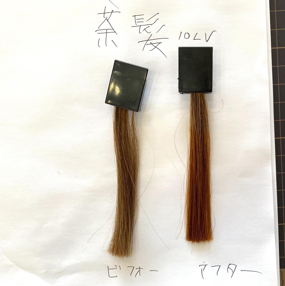 画面左が茶髪で画面右が茶髪にマンゴーオレンジで染めた毛束