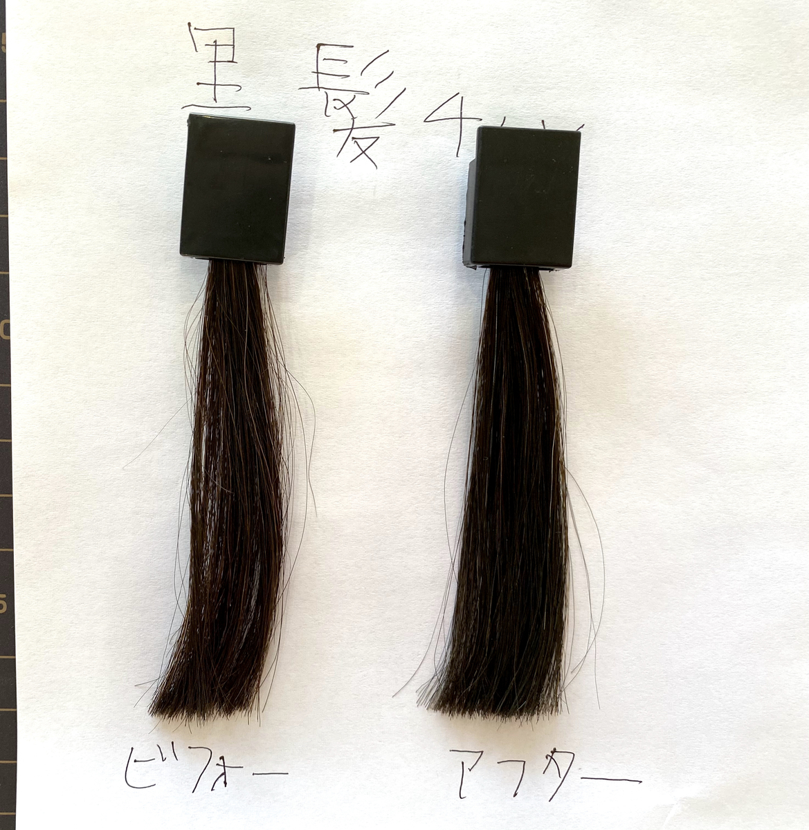 画面左が黒髪で画面右が黒髪にヘンプグリーンで染めた毛束