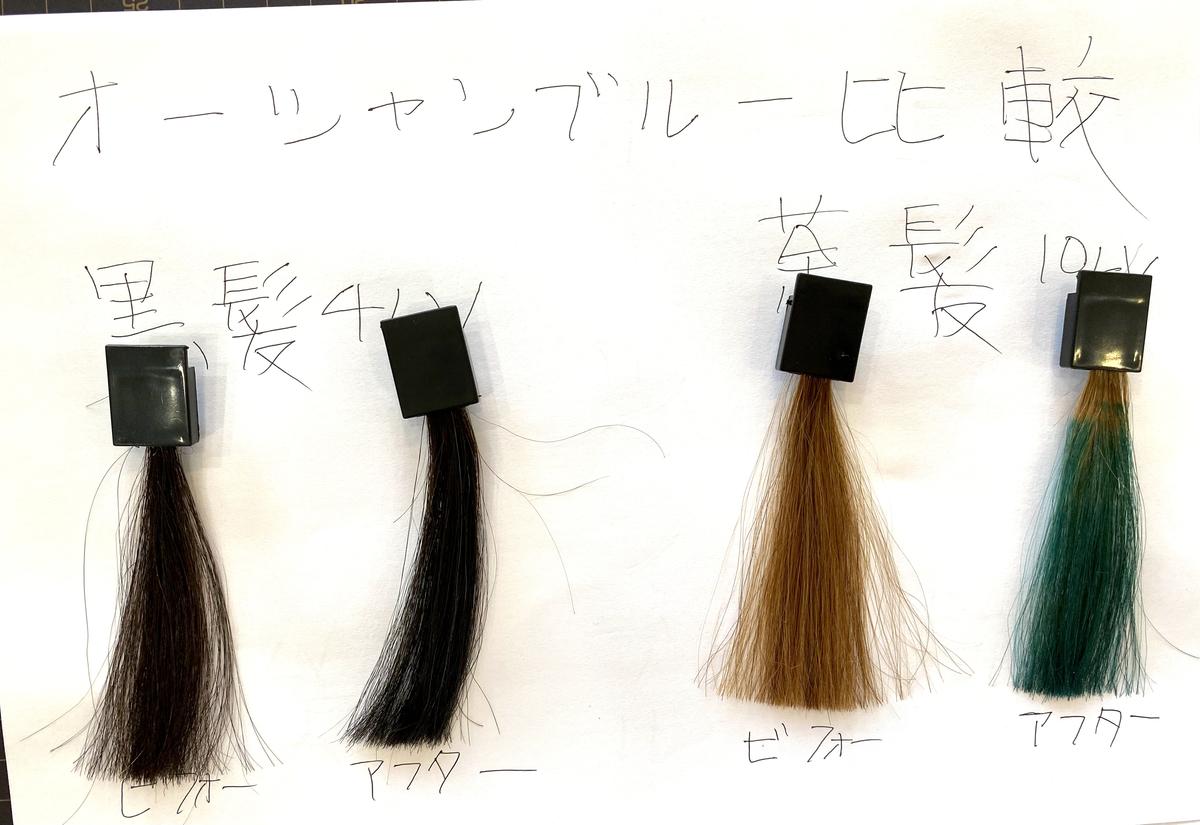 黒髪と茶髪の染める前とオーシャンブルーで染めた後の毛束の比較
