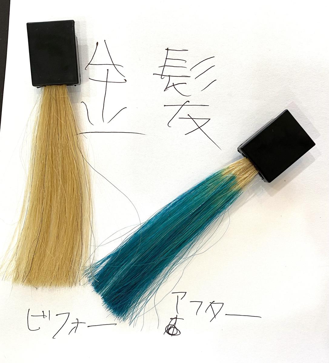 画黒左が金髪で画面右が金髪にオーシャンブルーで染めた仕上がり