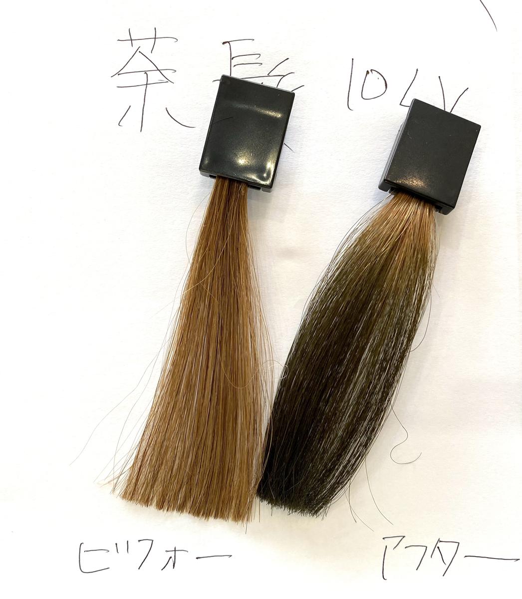 画面左が茶髪で画面右が茶髪にダークシルバーで染めた毛束