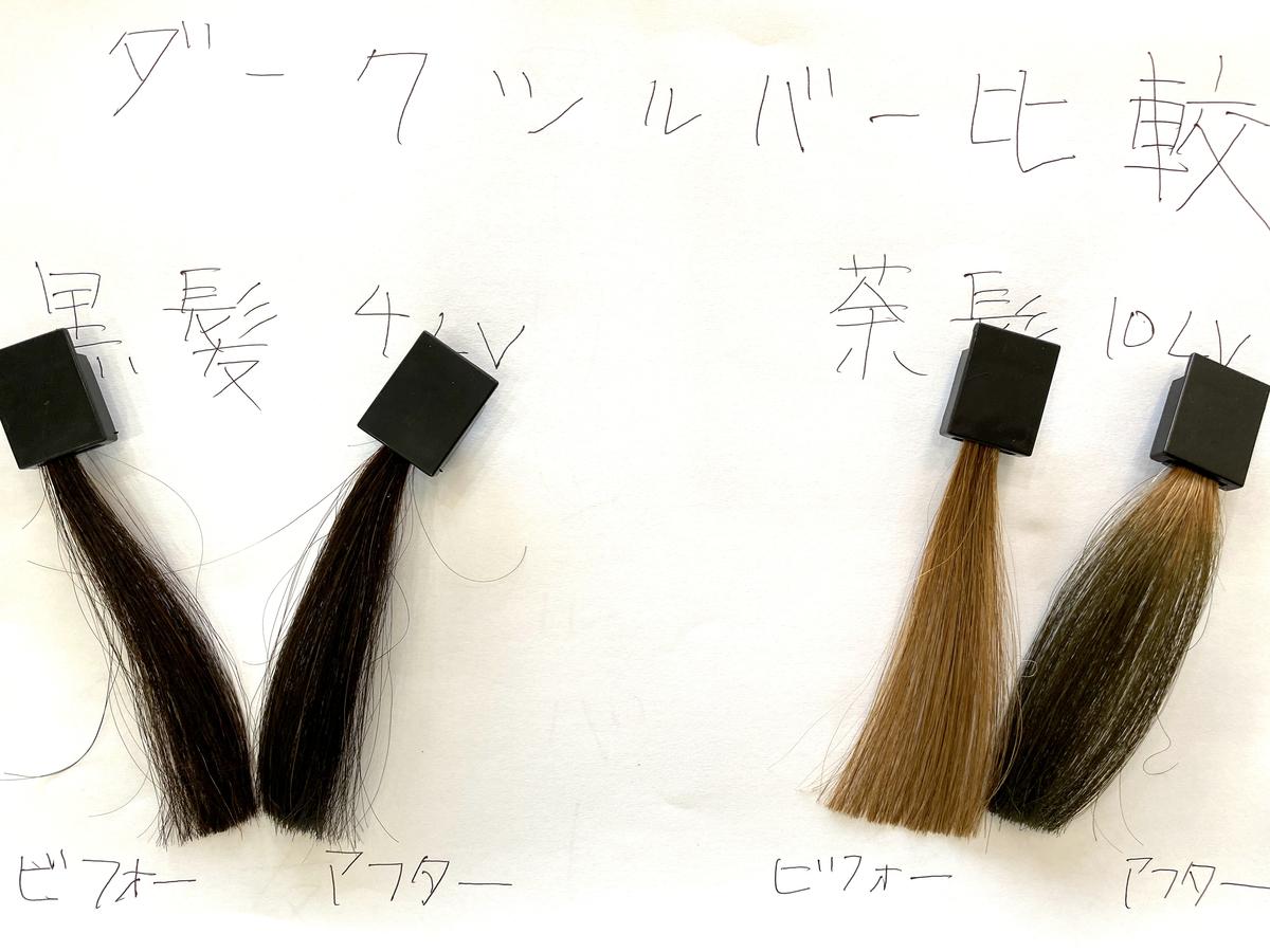 黒髪と茶髪の染める前とダークシルバーで染めた後の毛束の比較