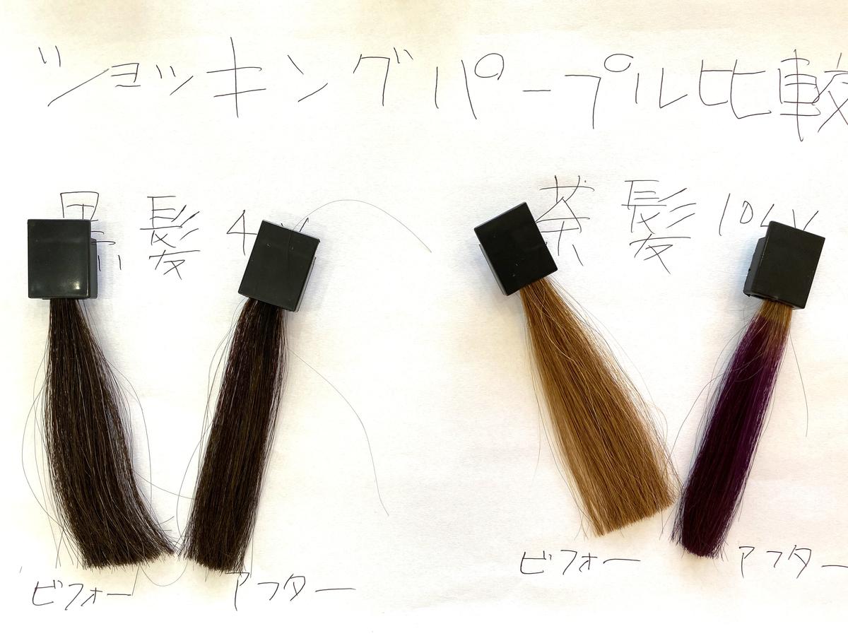 黒髪と茶髪の染める前とショッキングパープルで染めた後の毛束の比較