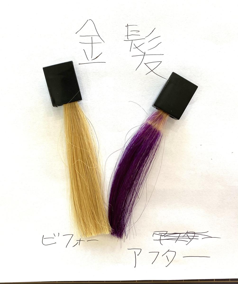画面左が金髪で画面右が金髪にショッキングパープルで染めた毛束