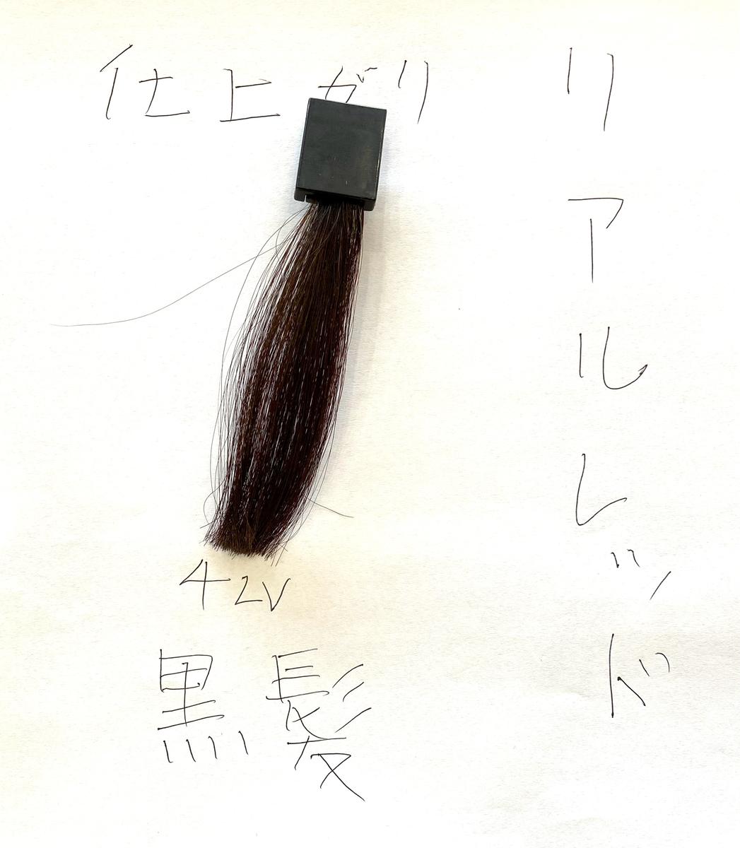 リアルレッドで染めた後の黒髪の毛束