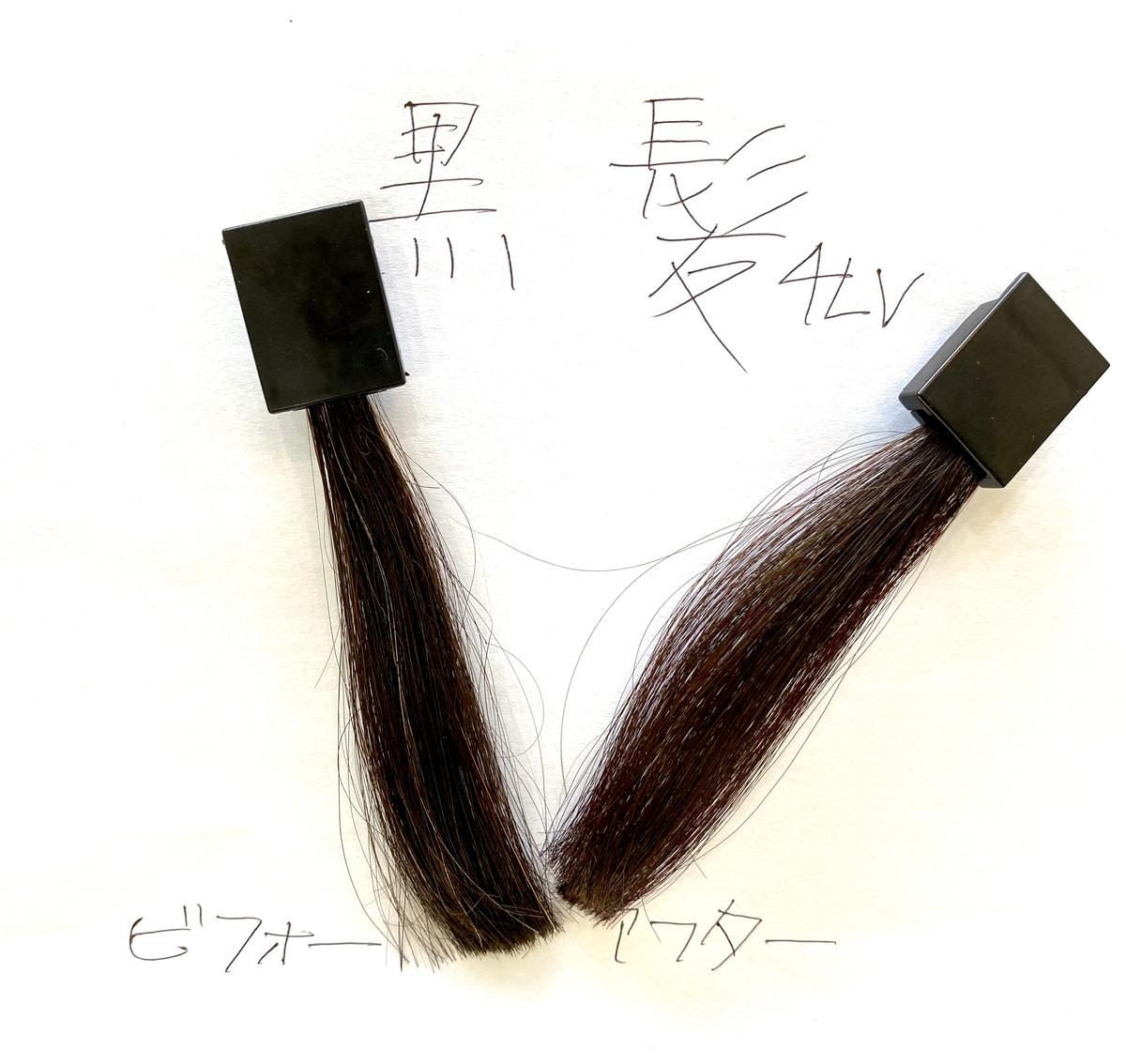画面左が黒髪で画面右が黒髪にリアルレッドで染めた仕上がり
