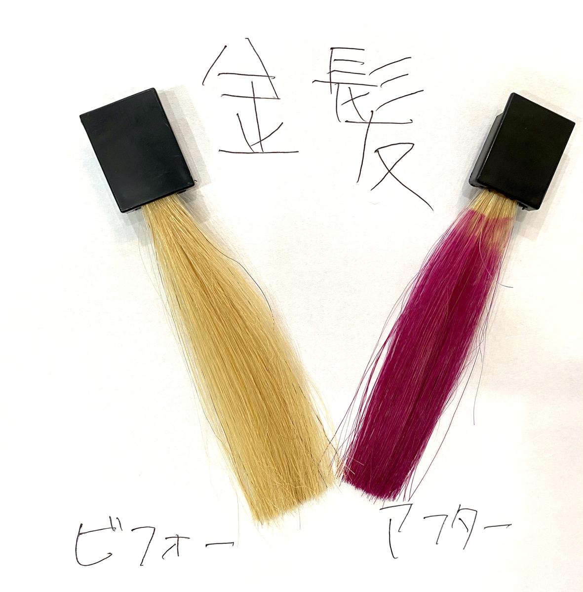画黒左が金髪で画面右が金髪にフラッシュピンクで染めた仕上がり