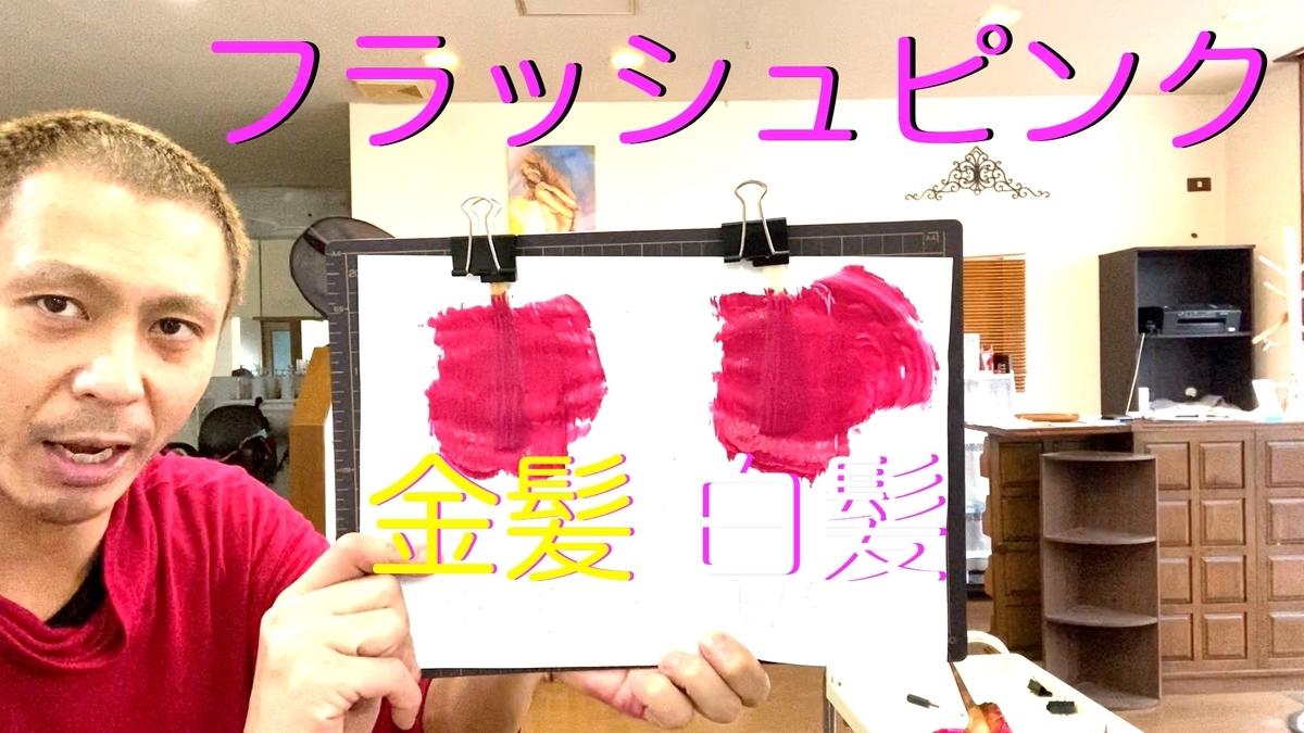 【カラーバター フラッシュピンク】金髪と白髪に染め比べ