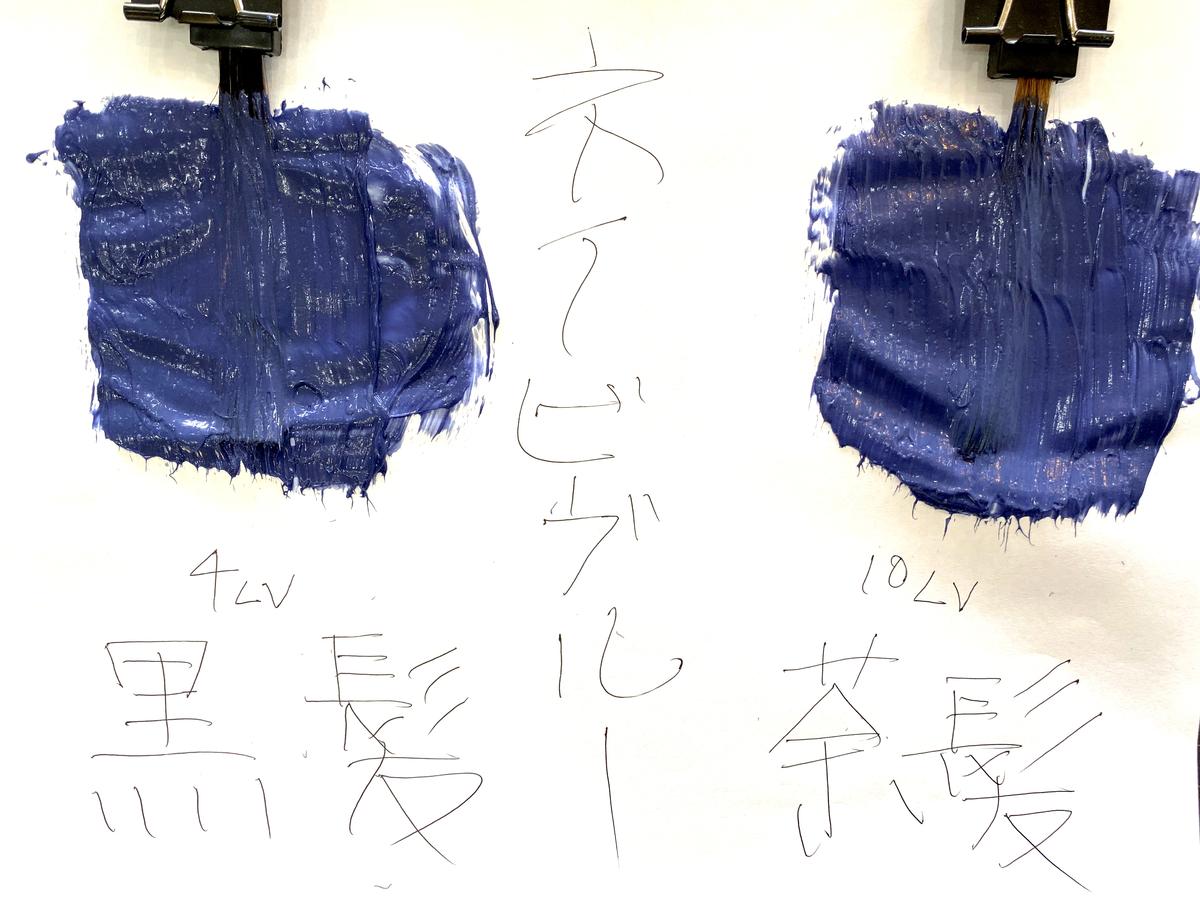 画面左が黒髪で画面右が茶髪の毛束にネイビーブルーで染めてます。