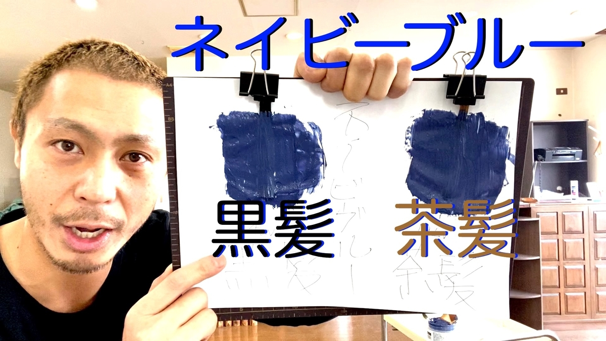 【カラーバター ネイビーブルー】黒髪と茶髪に染め比べ