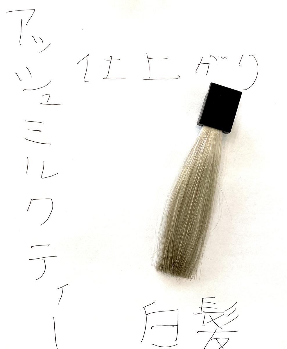 アッシュミルクティーで染めた後の白髪の毛束