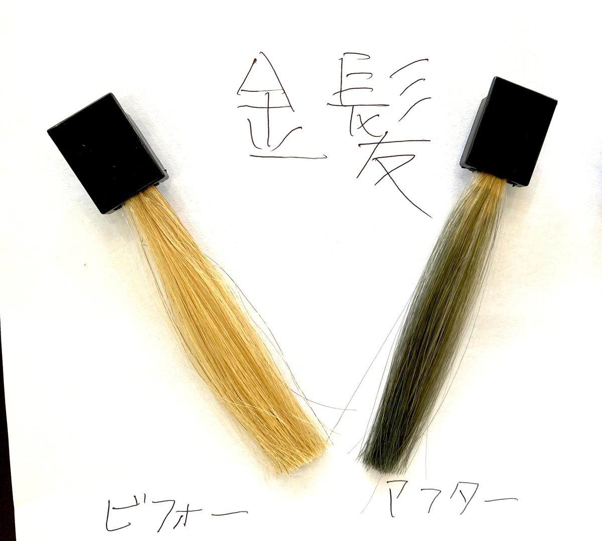 画黒左が金髪で画面右が金髪に925シルバーで染めた仕上がり