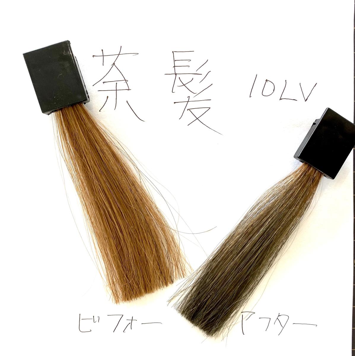 画面左が茶髪で画面右が茶髪に925シルバーで染めた毛束