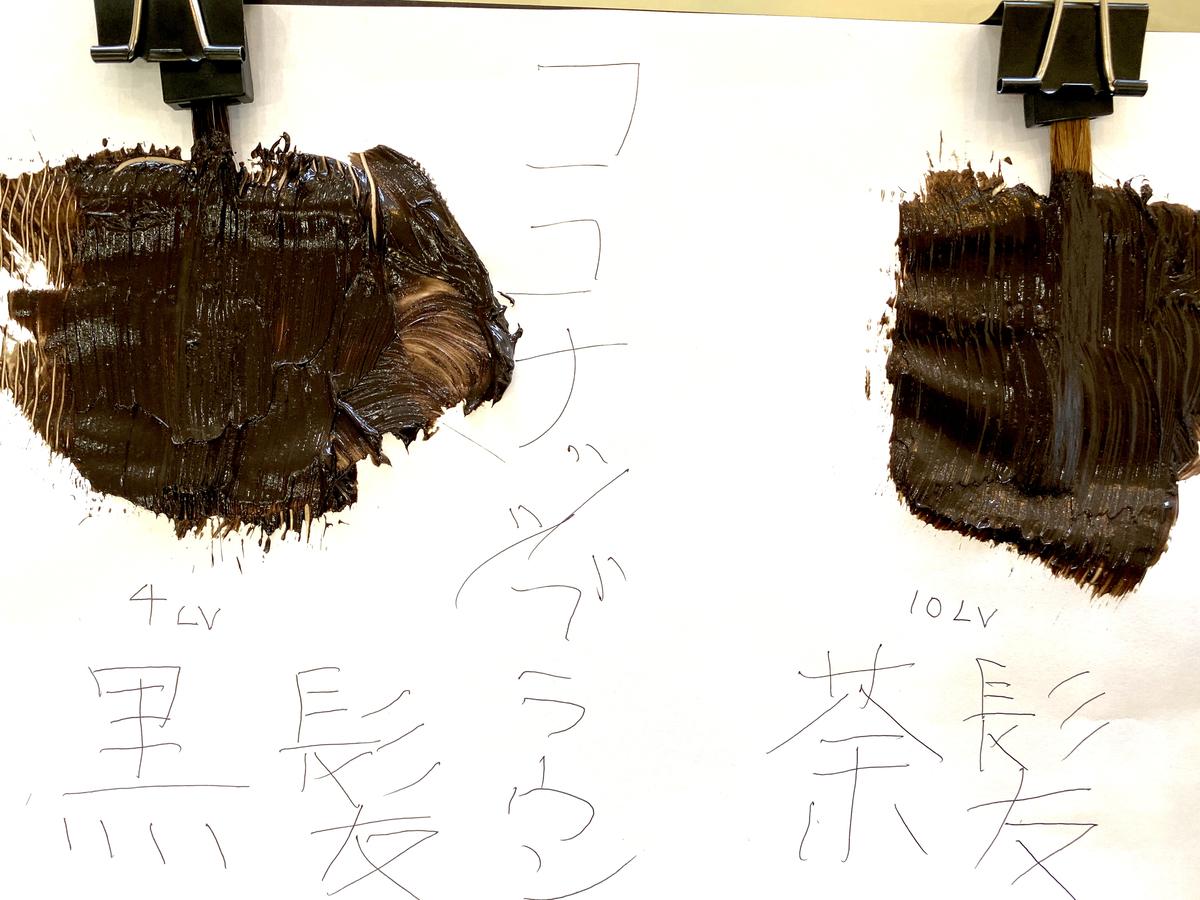 画面左が黒髪で画面右が茶髪の毛束にココナッツブラウンで染めてます。