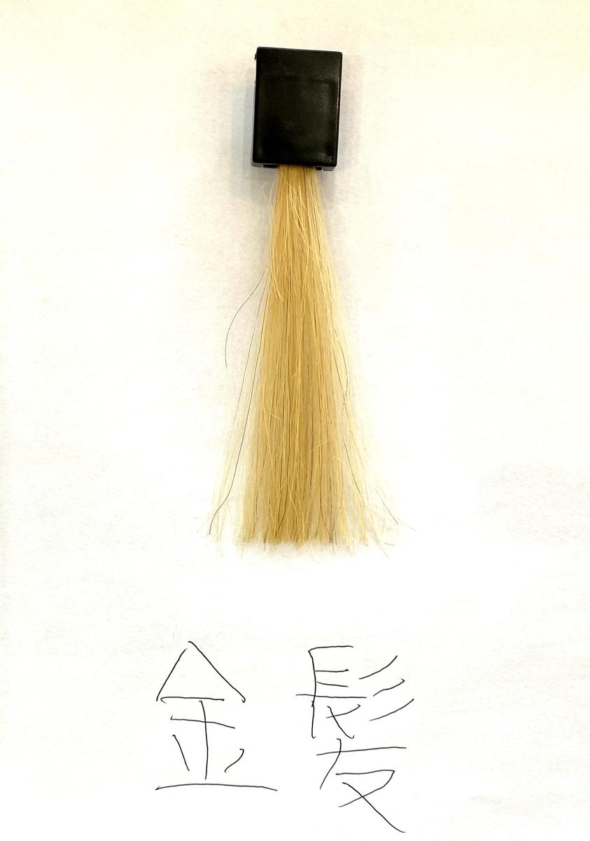 染める前の金髪の毛束