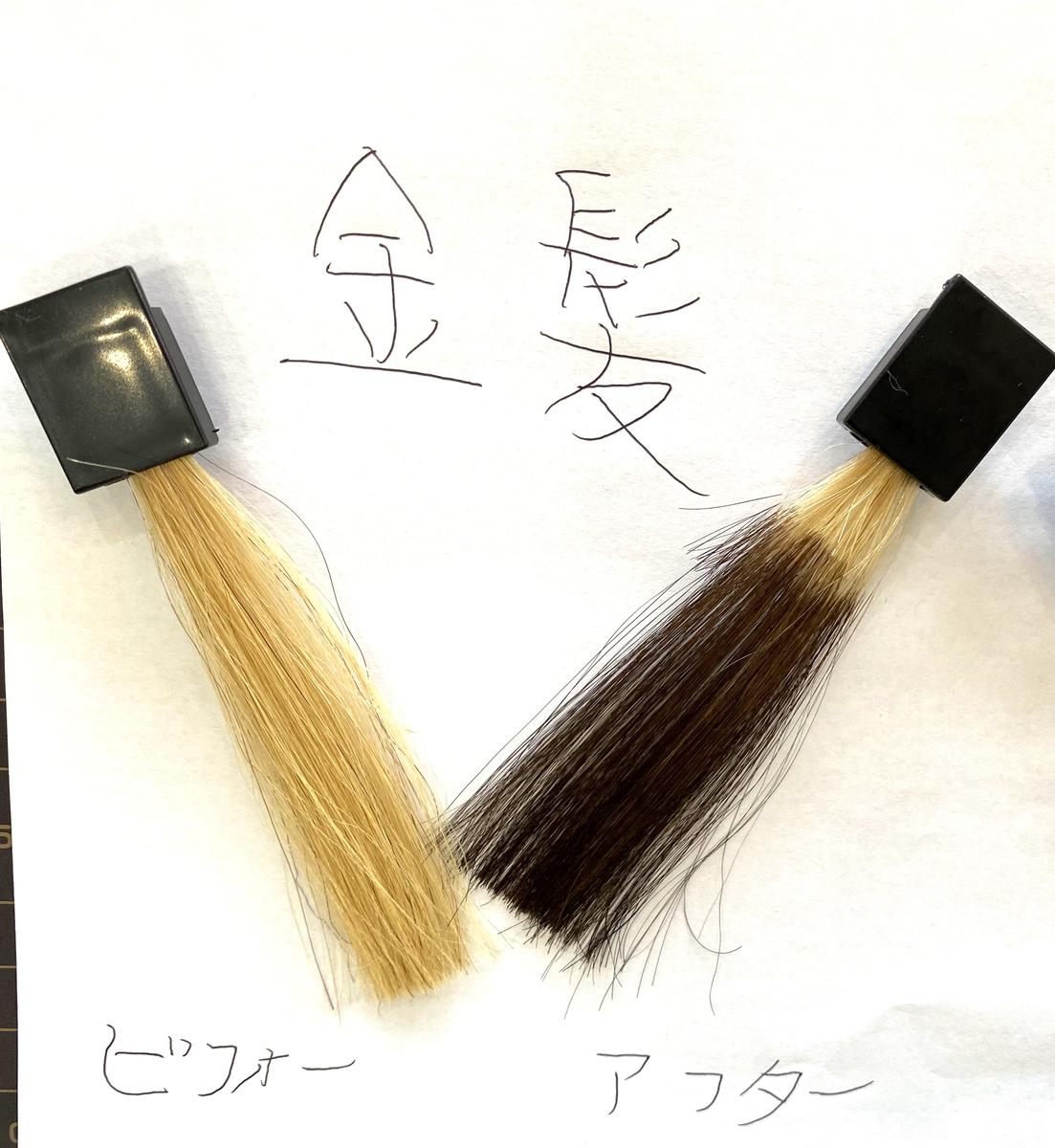 画黒左が金髪で画面右が金髪にココナッツブラウンで染めた仕上がり