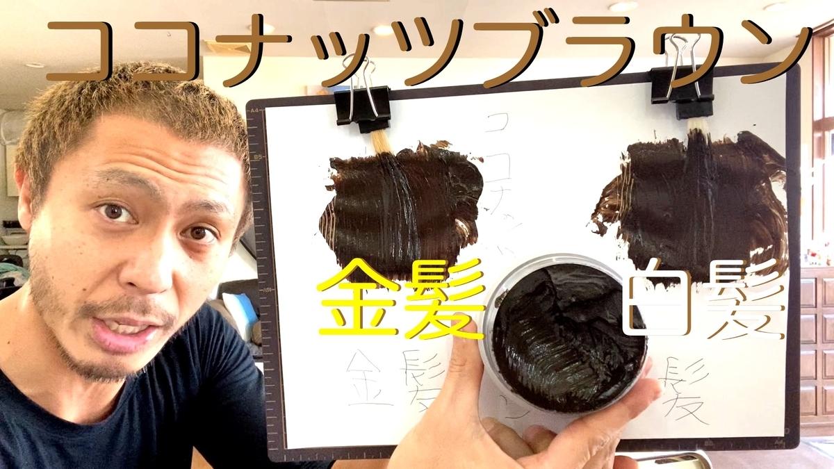 【カラーバター ココナッツブラウン】金髪と白髪に染め比べ