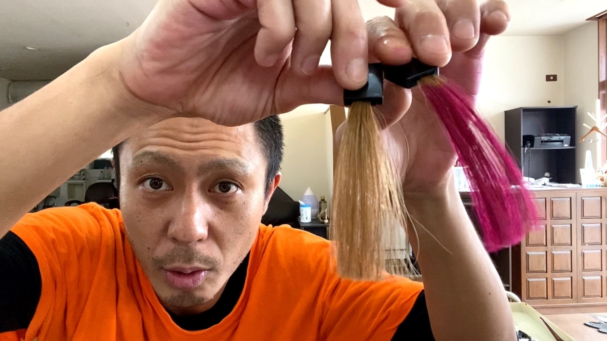 画面左が茶髪で画面右が茶髪にフラッシュピンクで染めた仕上がり