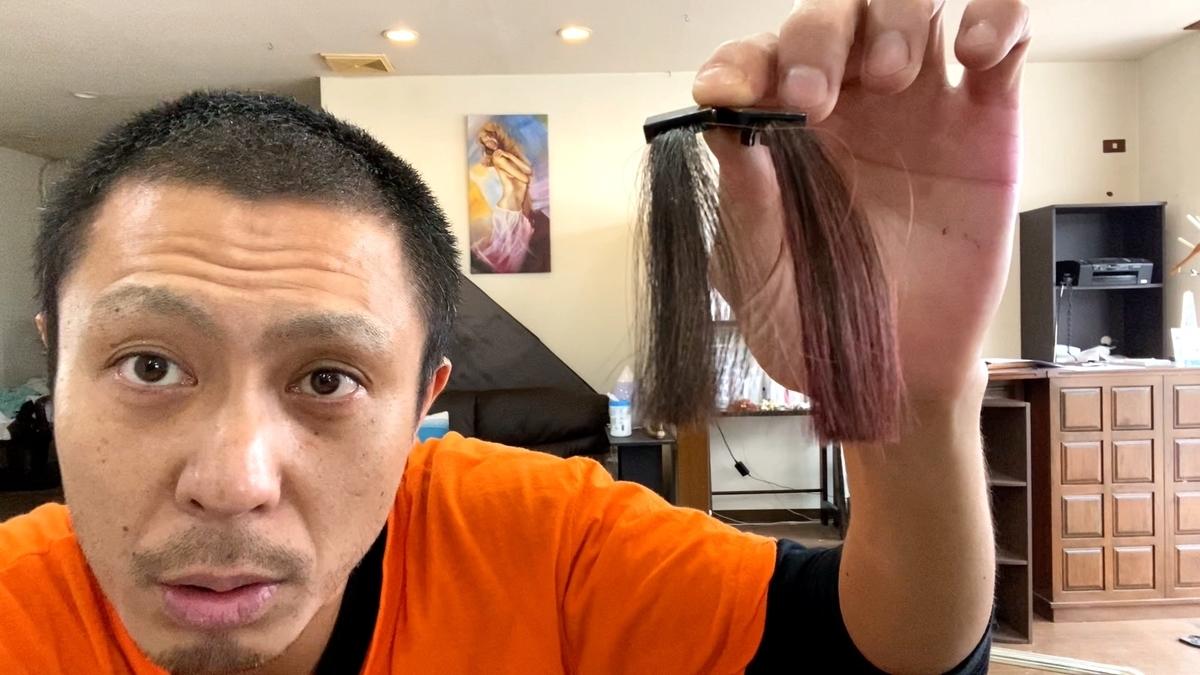 画面左が黒髪で画面右が黒髪にチェリーピンクで染めた仕上がり