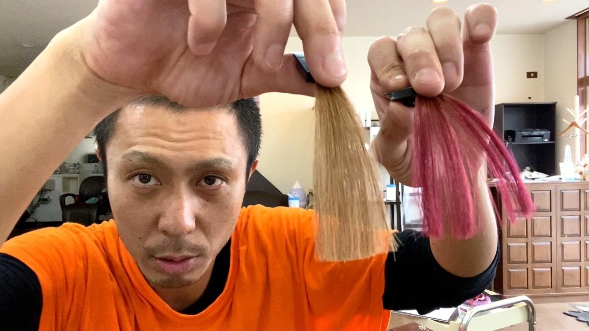 画面左が茶髪で画面右が茶髪にチェリーピンクで染めた仕上がり