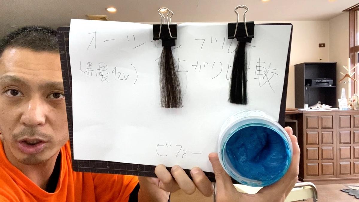 画面左が黒髪で画面右が黒髪にオーシャンブルーで染めた仕上がり
