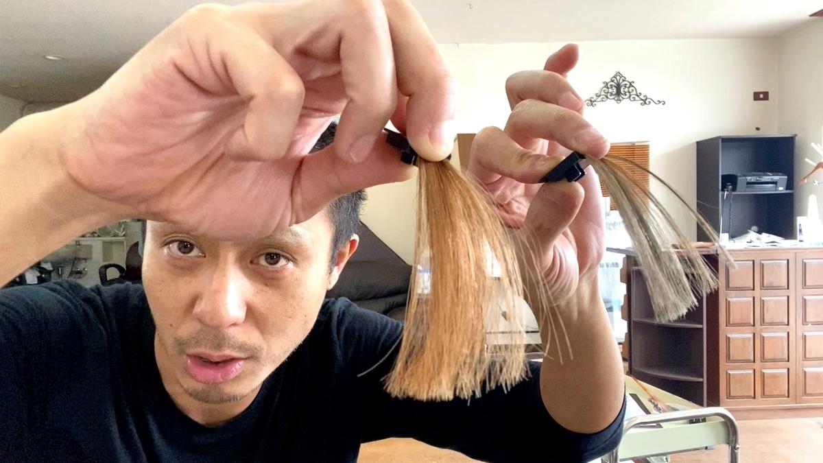 画面左が茶髪で画面右が茶髪に925 シルバーで染めた仕上がり