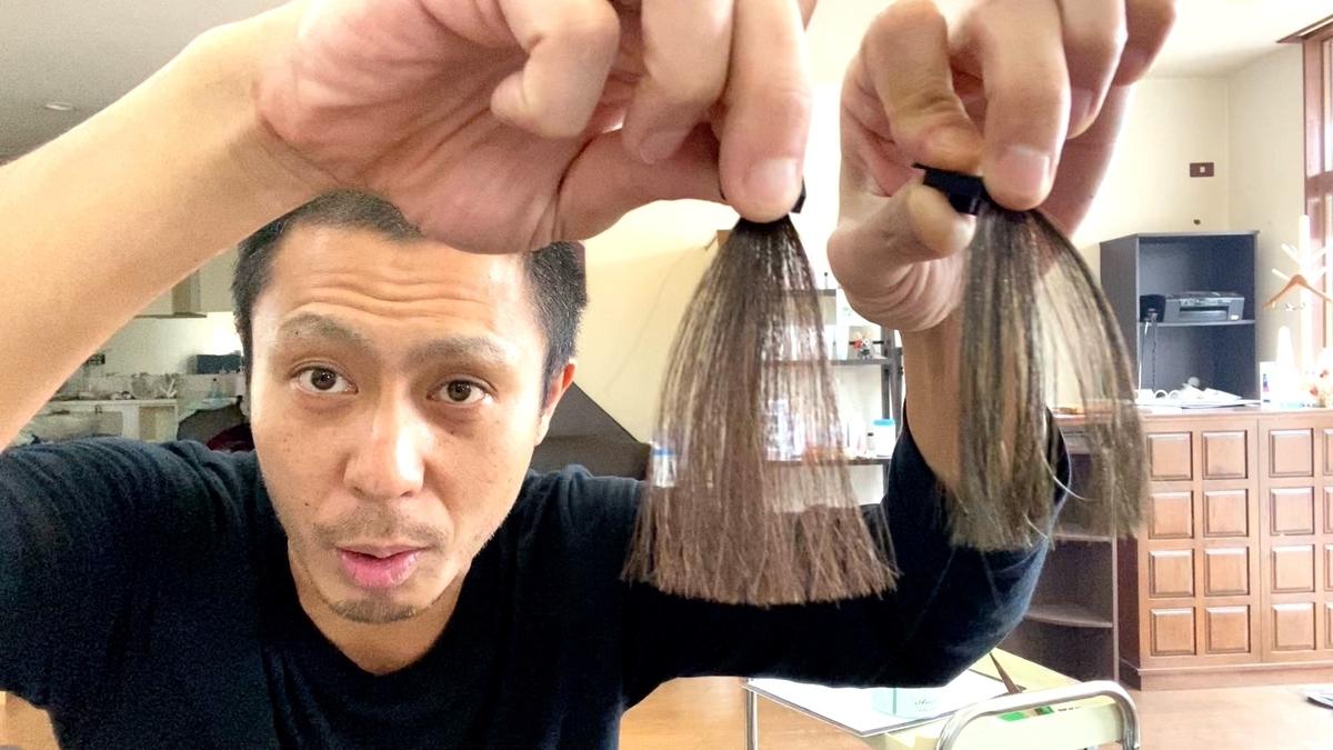 画面左が黒髪で画面右が黒髪にヘンプグリーンで染めた仕上がり