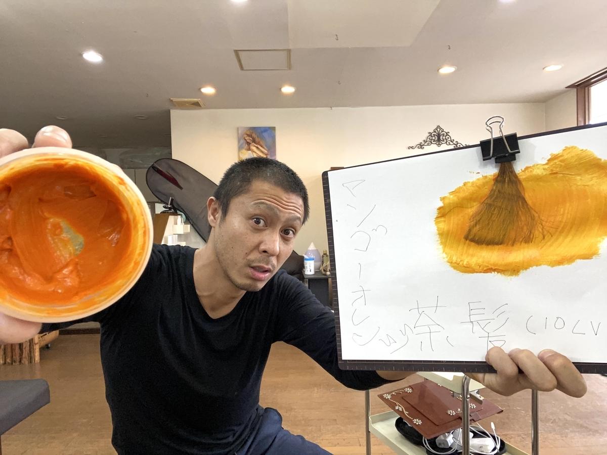【エンシェールズカラーバター】マンゴーオレンジでブリーチなしの茶髪(10Lv)に染めて見た