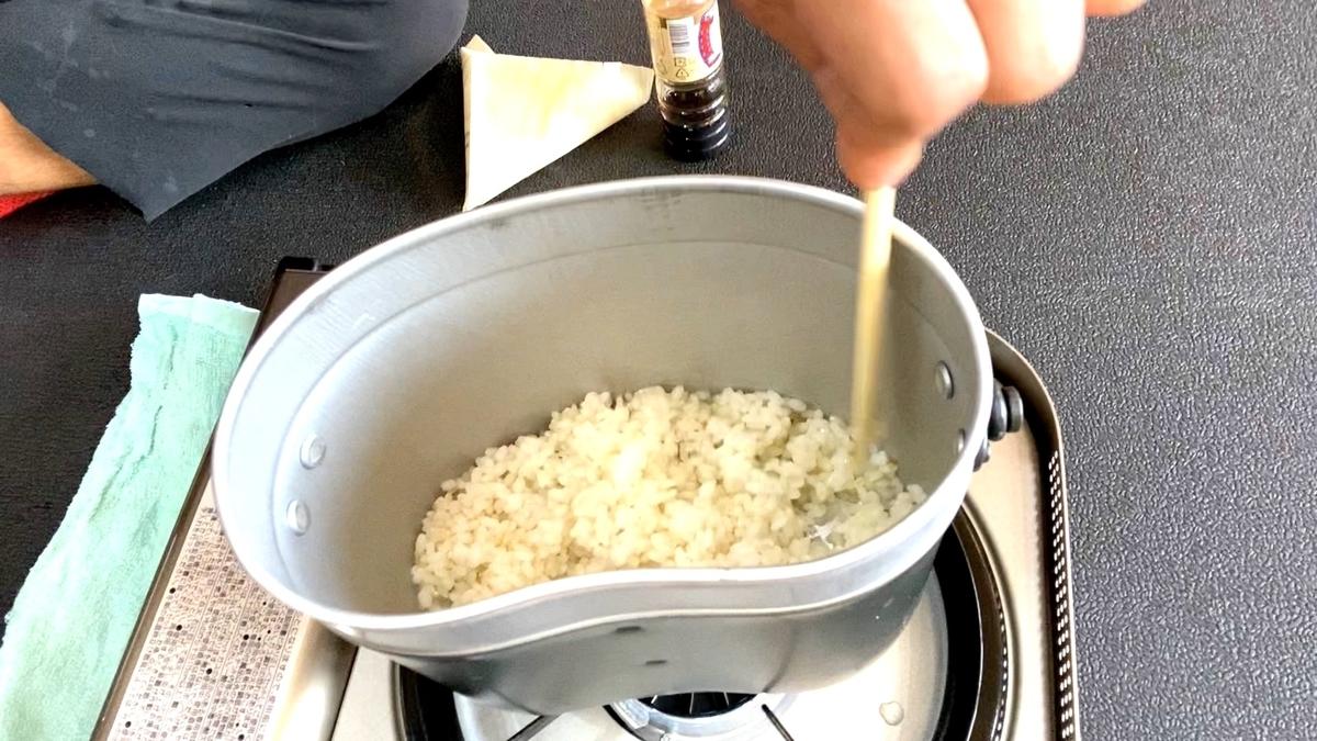 美容室で飯盒でお米を炊いてご飯食べた