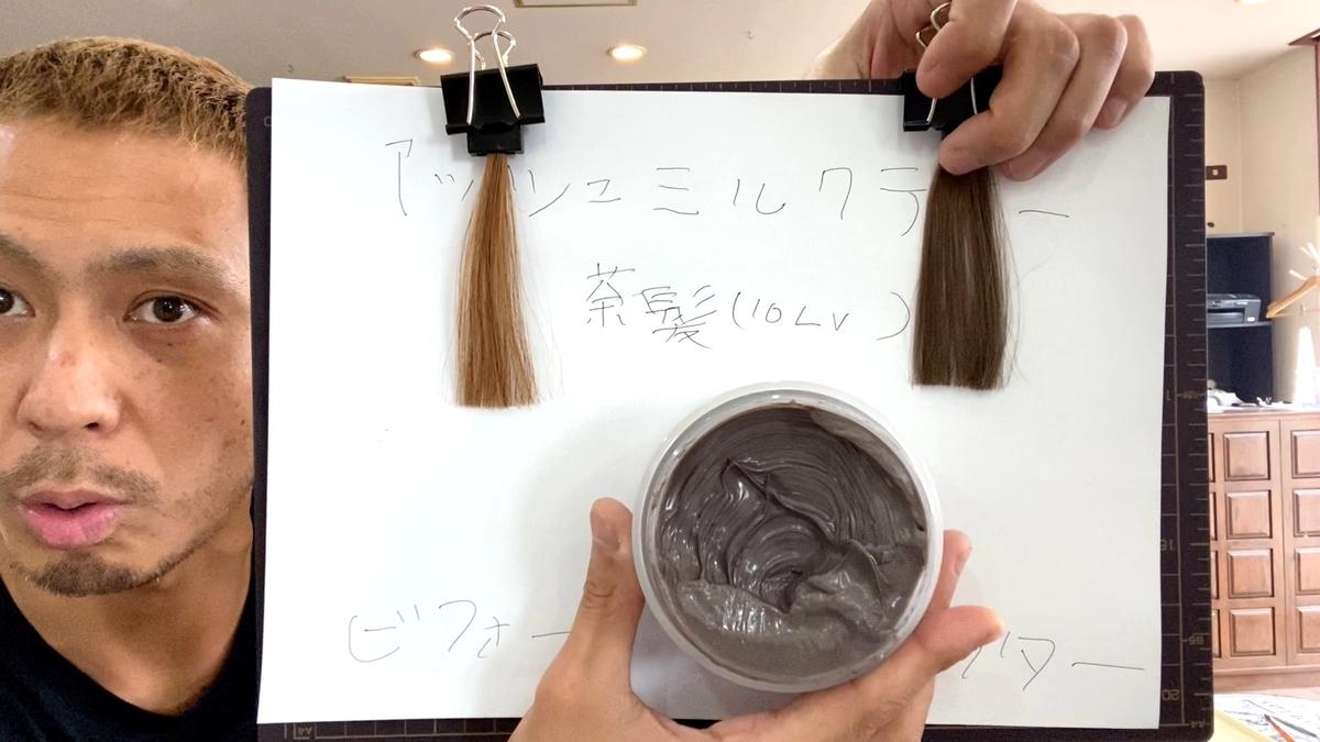 【エンシェールズカラーバター アッシュミルクティー】ブリーチなしの茶髪に染めてみた