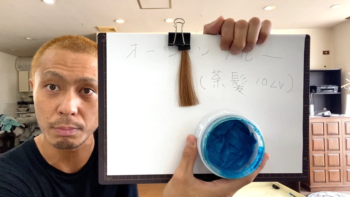 カラーバターのオーシャンブルーで茶髪に染めた仕上がり(ブリーチなしの茶髪10Lv)