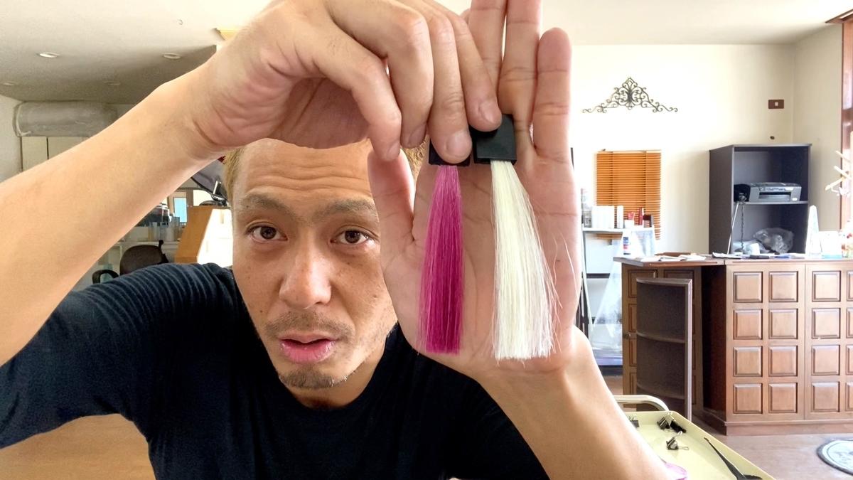 【カラーバターのチェリーピンク】白髪に染めた仕上がり