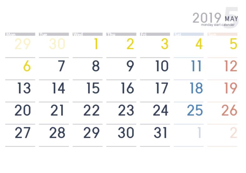 月曜始まりカレンダー(2019年5月)
